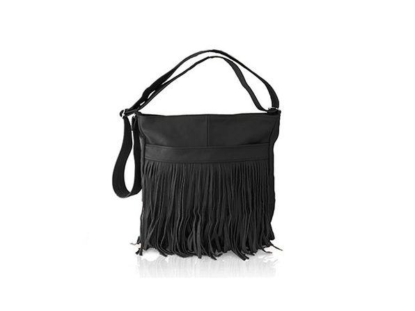 Front-Fringed Messenger Bag - 100% Leather - Black