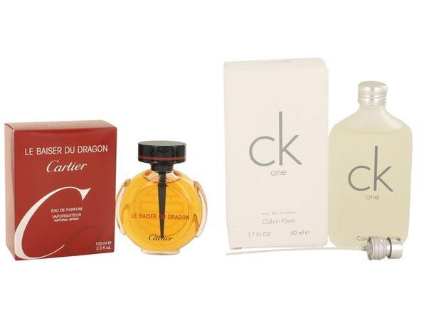 Gift set  Le Baiser Du Dragon by Cartier Eau De Parfum Spray 3.3 oz And  CK ONE EDT Pour/Spray (Unisex) 1.7 oz - Product Image