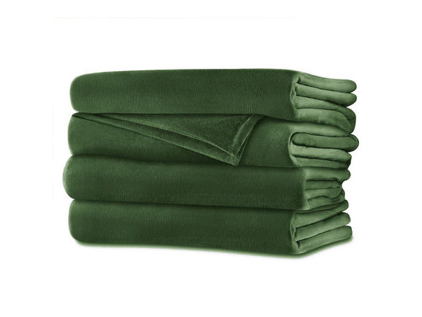 Sunbeam Velvet Plush Electric Heated Blanket Queen Size Ivy Green Washable Auto Shut Off 20 Heat Settings - Ivy