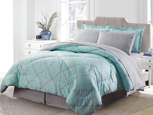 Bibb Home 8-Piece Down Alternative Comforter Set (Trellis/King)