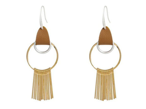 Gold Hoop Earrings with Gold Tassel & Leather Hook