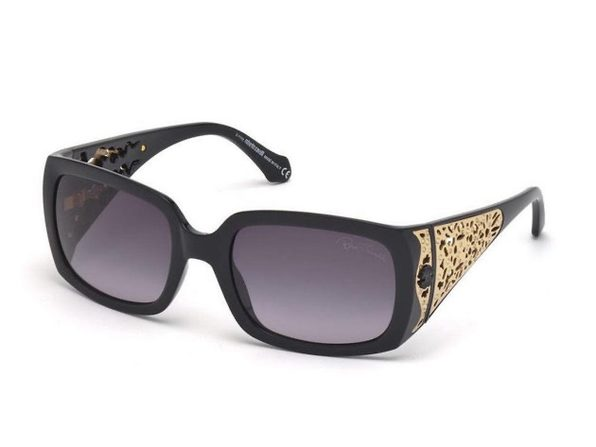 Roberto Cavalli RC804S-01B Women's Shiny Black Gradient Smoke Lens Sunglasses - Gold
