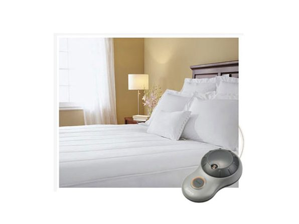 Sunbeam Quilted Striped Heated Electric Mattress Pad Twin Full Queen King C-King - White
