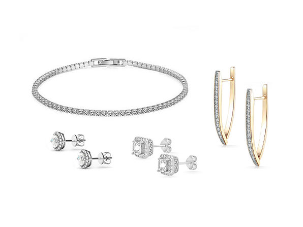 Swarovski Element Earrings & Bracelet 4-Piece Jewelry Bundle