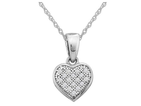 1/20 Carat (ctw) Diamond Heart Pendant Necklace in 10K White Gold