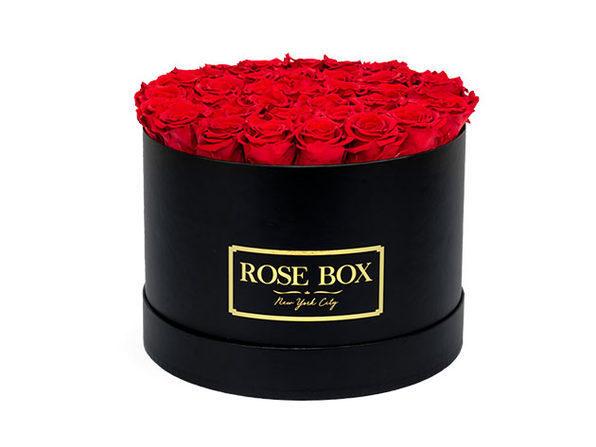 Large Black Box with Long-Lasting Roses