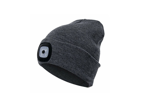 Unisex Beanie LED Rechargeable Lighted Hat (Grey)