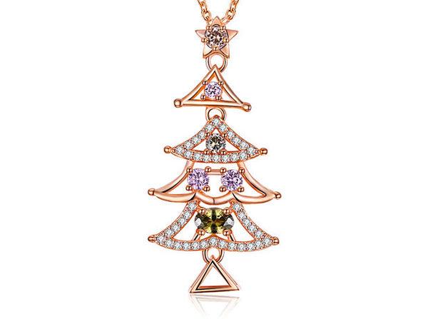 Rainbow Swarovski Tall Christmas Tree Necklace (Rose Gold)