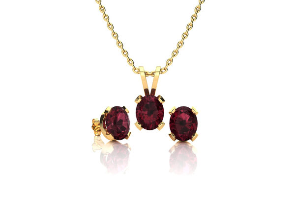 Oval Garnet Necklace & Earring Set In 14K Yellow Gold Over Sterling Silver
