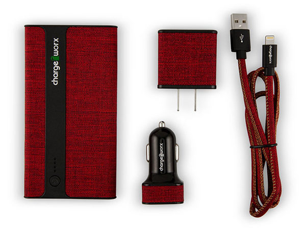 ChargeWorx Sleek Canvas Complete Charging Collection MFi Lightning Red - Product Image