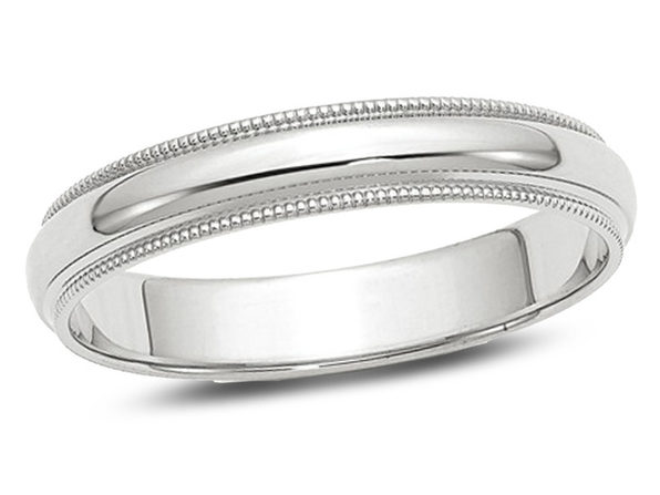 Ladies or Mens 14K White Gold 4mm Milgrain Wedding Band - 11