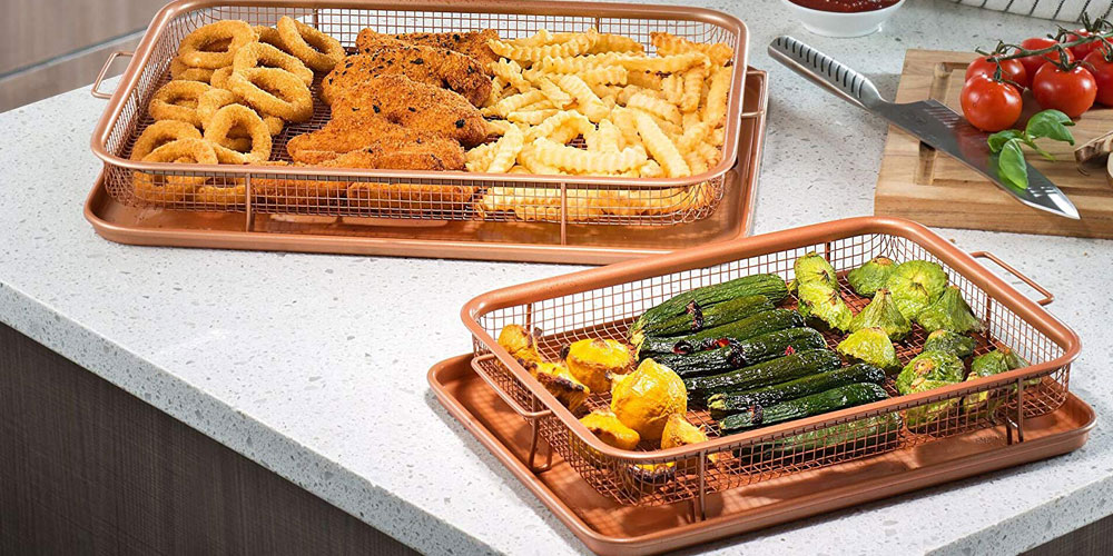 These dish-washer safe Gotham Crispers can let you fry foods without the extra calories that a traditional oil fryer creates