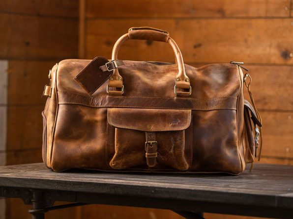 Kodiak Leather Weekender Duffel Bag in Antique Brown (Size: 60L)