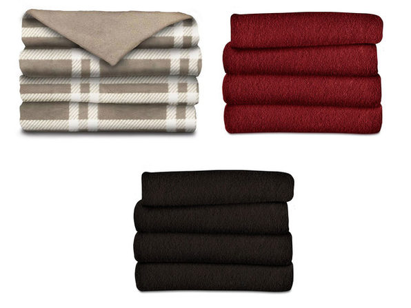 Sunbeam Fleece Electric Heated Warming Throw Blanket  Washable 3 Heat Settings - Walnut