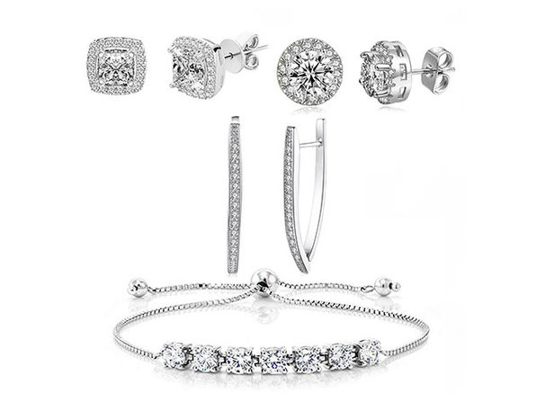 Swarovski Earrings & Princess Tennis Bracelet Jewelry Set