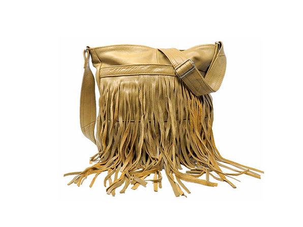 Front-Fringed Messenger Bag - 100% Leather - Tan - Product Image