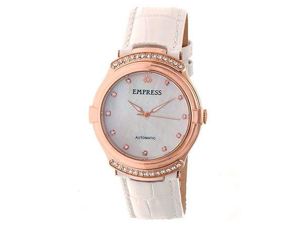 Empress Francesca Automatic Leather Watch (Rose Gold/White)