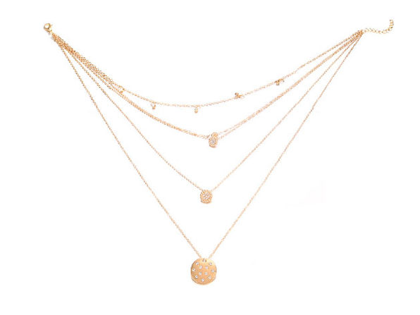 White Crystal Pav'e Multi-Disc 14K Rose Gold Plated Statement Necklace