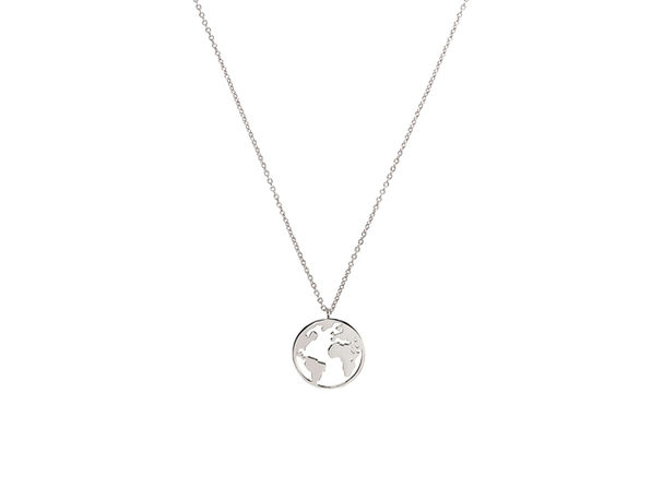 Homvare Women's 925 Sterling Silver World Necklace - Silver