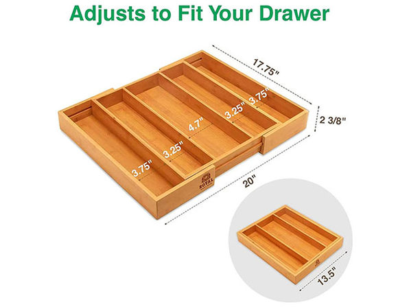 Bamboo Kitchen Drawer Organizer for Utensils (5 Slots)