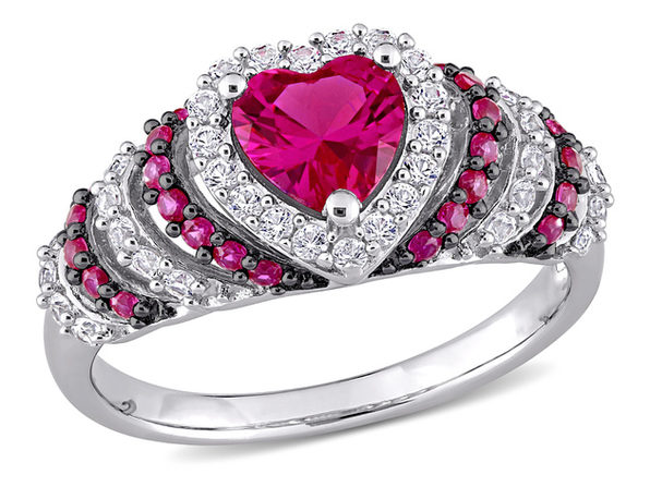 1 3/4 Carat (ctw) Lab Created Ruby & White Sapphire Heart Ring in Sterling Silver - 6