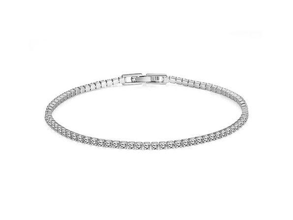 Swarovski Crystal 3mm Classic Round Tennis Bracelet (Silver)