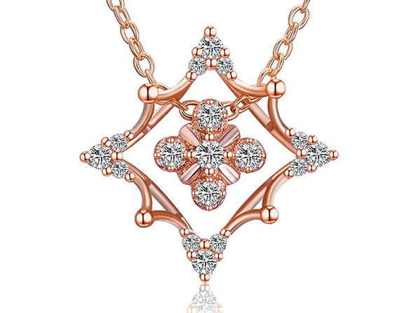 Rhombus Abstract Snowflake Necklace with Swarovski Elements (Rose Gold)