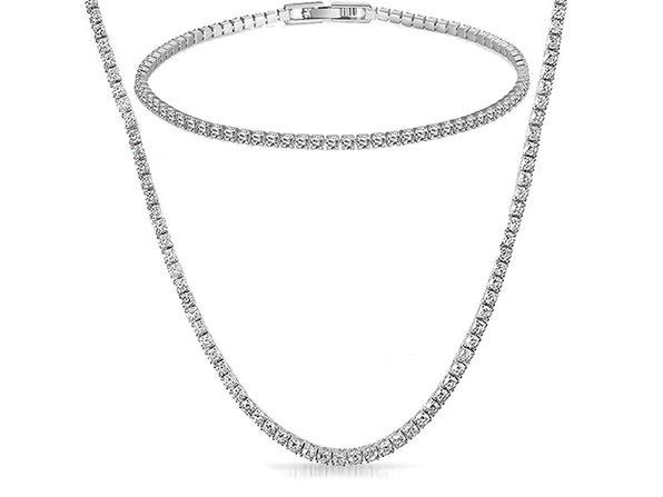 Tennis Necklace & Bracelet with Swarovski Crystals (White Gold)