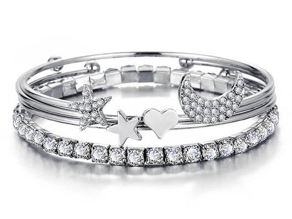 4-Piece Celestial Bangle Set with Swarovski® Crystals
