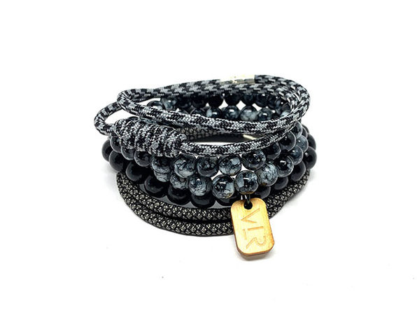 Diamond Variety Bracelets: 4-Pack (Charcoal/Black)