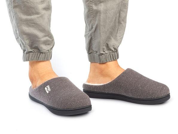 Men's Original Two-Tone Memory Foam Slippers (Gray/Natural, Size 9-10)