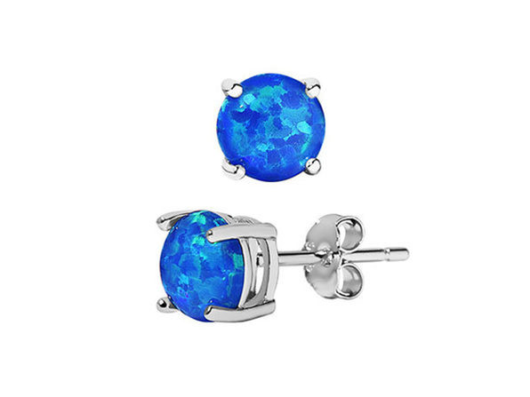 A&M Sterling Silver Opal Stud Earrings