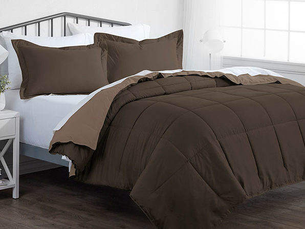 Down Alternative Reversible Comforter Set (Taupe & Chocolate)