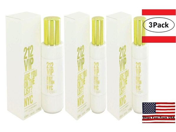 3 Pack 212 Vip by Carolina Herrera Body Lotion 6.7 oz for Women