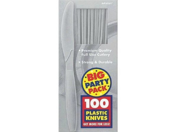 Party Favors - Big Party Pack - Silver - Plastic Knives - 100ct - Product Image