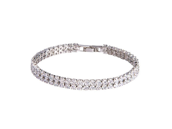 Tennis Bracelet With Double-Row Round-Cut Cubic Stones