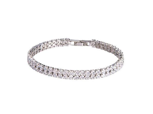 Tennis Bracelet With Double-Row Round-Cut Cubic Stones