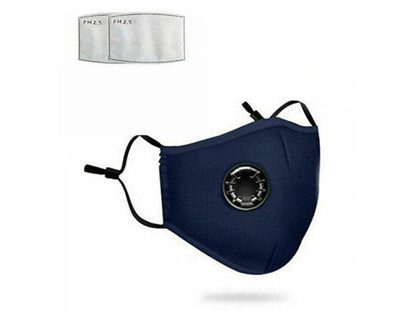 4 Pack Non-Medical Cotton Masks with 8 filters - Navy Blue - Product Image