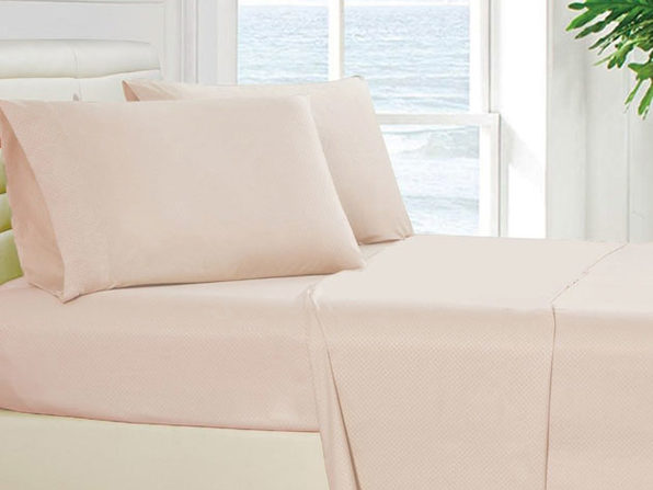 4-Piece King Checkered Sheet Set Beige - Product Image