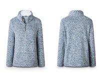 Half Zip Furry Pullover- Blue Medium - Product Image