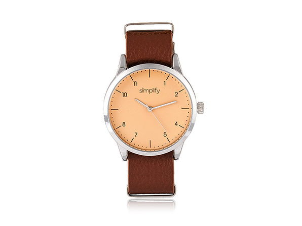 Simplify 5600 Series Leather Band Watch (Light Brown/Silver)