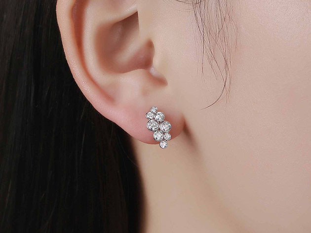 Bubbly 0.95CT Lab-Grown Diamond Cluster Earrings in 10K White Gold