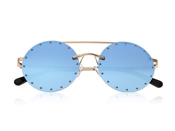 Bertha Harlow Round Metal Sunglasses (Silver Lens)