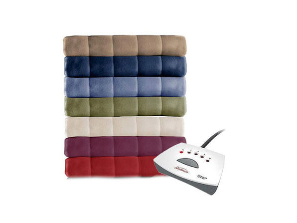 Sunbeam Soft Quilted Fleece Electric Heated Warming Blanket Queen Newport Blue Washable Auto Shut Off 5 Heat Settings