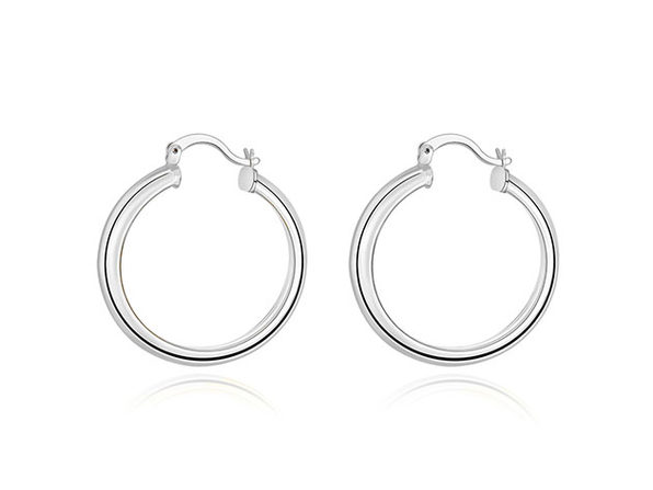 "1.3"" 18K White Gold Plated Hoop Earrings"