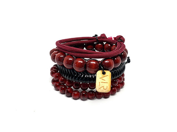 Variety 4-Pack Bracelets (Maroon + Black)