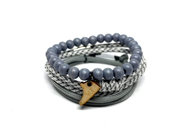 Light Gray & White Stacks and Sneakers Bracelets: 3-Pack