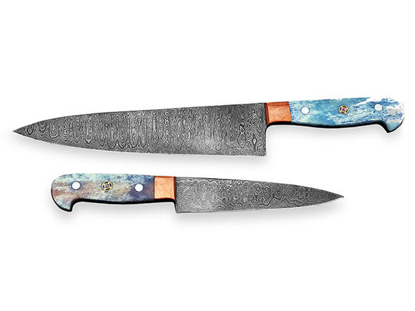 Damascus Chef Knives: 2-Piece Set