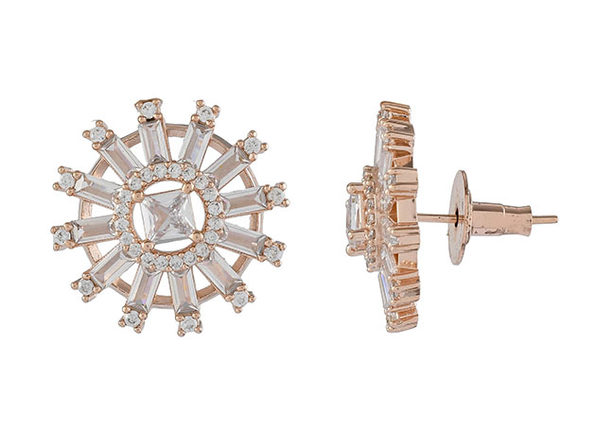 Round Baguette Princess Cut Cubic Zirconia Stud Earrings (Rose Gold)
