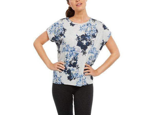 Ideology Women's Printed Yoga T-Shirt Grey Size  Large